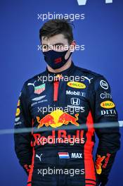 Second placed Max Verstappen (NLD) Red Bull Racing on the podium. 27.09.2020. Formula 1 World Championship, Rd 10, Russian Grand Prix, Sochi Autodrom, Sochi, Russia, Race Day.