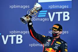 Max Verstappen (NLD) Red Bull Racing celebrates his second position on the podium. 27.09.2020. Formula 1 World Championship, Rd 10, Russian Grand Prix, Sochi Autodrom, Sochi, Russia, Race Day.