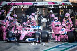 Sergio Perez (MEX) Racing Point F1 Team RP19 makes a pit stop. 27.09.2020. Formula 1 World Championship, Rd 10, Russian Grand Prix, Sochi Autodrom, Sochi, Russia, Race Day.