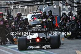 Romain Grosjean (FRA) Haas F1 Team VF-20 makes a pit stop. 27.09.2020. Formula 1 World Championship, Rd 10, Russian Grand Prix, Sochi Autodrom, Sochi, Russia, Race Day.