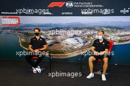 (L to R): Romain Grosjean (FRA) Haas F1 Team and team mate Kevin Magnussen (DEN) Haas F1 Team in the FIA Press Conference. 24.09.2020. Formula 1 World Championship, Rd 10, Russian Grand Prix, Sochi Autodrom, Sochi, Russia, Preparation Day.