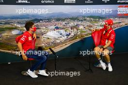 (L to R): Charles Leclerc (MON) Ferrari and team mate Sebastian Vettel (GER) Ferrari in the FIA Press Conference. 24.09.2020. Formula 1 World Championship, Rd 10, Russian Grand Prix, Sochi Autodrom, Sochi, Russia, Preparation Day.