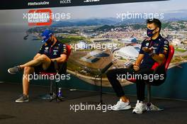 (L to R): Max Verstappen (NLD) Red Bull Racing and team mate Alexander Albon (THA) Red Bull Racing in the FIA Press Conference. 24.09.2020. Formula 1 World Championship, Rd 10, Russian Grand Prix, Sochi Autodrom, Sochi, Russia, Preparation Day.