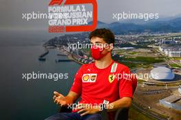 Charles Leclerc (MON) Ferrari in the FIA Press Conference. 24.09.2020. Formula 1 World Championship, Rd 10, Russian Grand Prix, Sochi Autodrom, Sochi, Russia, Preparation Day.