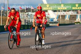 Sebastian Vettel (GER) Ferrari rides the circuit with Riccardo Adami (ITA) Ferrari Race Engineer. 24.09.2020. Formula 1 World Championship, Rd 10, Russian Grand Prix, Sochi Autodrom, Sochi, Russia, Preparation Day.