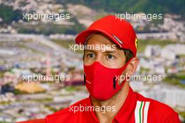 Sebastian Vettel (GER) Ferrari in the FIA Press Conference. 24.09.2020. Formula 1 World Championship, Rd 10, Russian Grand Prix, Sochi Autodrom, Sochi, Russia, Preparation Day.