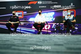 The FIA Press Conference (L to R): Guenther Steiner (ITA) Haas F1 Team Prinicipal; Toto Wolff (GER) Mercedes AMG F1 Shareholder and Executive Director; Mario Isola (ITA) Pirelli Racing Manager. 04.12.2020. Formula 1 World Championship, Rd 16, Sakhir Grand Prix, Sakhir, Bahrain, Practice Day