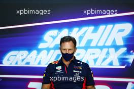 Christian Horner (GBR) Red Bull Racing Team Principal in the FIA Press Conference. 04.12.2020. Formula 1 World Championship, Rd 16, Sakhir Grand Prix, Sakhir, Bahrain, Practice Day