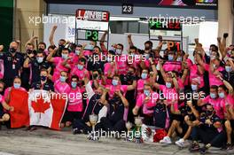 Racing Point F1 Team celebrates victory for Sergio Perez (MEX) Racing Point F1 Team and third place for Lance Stroll (CDN) Racing Point F1 Team. 06.12.2020. Formula 1 World Championship, Rd 16, Sakhir Grand Prix, Sakhir, Bahrain, Race Day.
