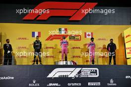 The podium (L to R): Esteban Ocon (FRA) Renault F1 Team, second; Sergio Perez (MEX) Racing Point F1 Team, race winner; Lance Stroll (CDN) Racing Point F1 Team, third; Andy Stevenson (GBR) Racing Point F1 Team Manager. 06.12.2020. Formula 1 World Championship, Rd 16, Sakhir Grand Prix, Sakhir, Bahrain, Race Day.