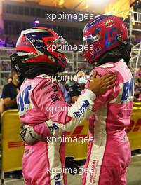 (L to R): Race winner Sergio Perez (MEX) Racing Point F1 Team celebrates in parc ferme with third placed team mate Lance Stroll (CDN) Racing Point F1 Team. 06.12.2020. Formula 1 World Championship, Rd 16, Sakhir Grand Prix, Sakhir, Bahrain, Race Day.