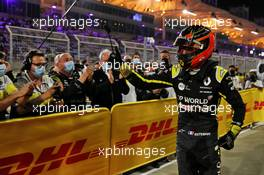 Esteban Ocon (FRA) Renault F1 Team celebrates his second position with the team in parc ferme. 06.12.2020. Formula 1 World Championship, Rd 16, Sakhir Grand Prix, Sakhir, Bahrain, Race Day.