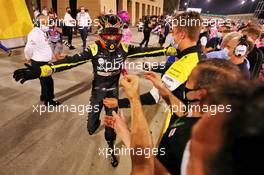 Esteban Ocon (FRA) Renault F1 Team celebrates his second position in parc ferme with the team. 06.12.2020. Formula 1 World Championship, Rd 16, Sakhir Grand Prix, Sakhir, Bahrain, Race Day.