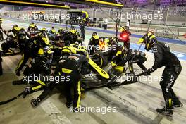 Esteban Ocon (FRA) Renault F1 Team RS20 makes a pit stop. 06.12.2020. Formula 1 World Championship, Rd 16, Sakhir Grand Prix, Sakhir, Bahrain, Race Day.