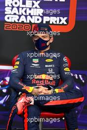 Max Verstappen (NLD) Red Bull Racing in the post qualifying FIA Press Conference. 05.12.2020. Formula 1 World Championship, Rd 16, Sakhir Grand Prix, Sakhir, Bahrain, Qualifying Day.