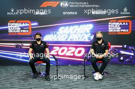 (L to R): Pietro Fittipaldi (BRA) Haas F1 Team with team mate Kevin Magnussen (DEN) Haas F1 Team in the FIA Press Conference. 03.12.2020. Formula 1 World Championship, Rd 16, Sakhir Grand Prix, Sakhir, Bahrain, Preparation Day.