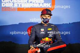 Max Verstappen (NLD) Red Bull Racing in the post race FIA Press Conference. 12.07.2020. Formula 1 World Championship, Rd 2, Steiermark Grand Prix, Spielberg, Austria, Race Day.