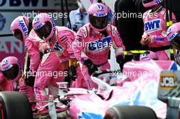 Lance Stroll (CDN) Racing Point F1 Team RP20 makes a pit stop. 12.07.2020. Formula 1 World Championship, Rd 2, Steiermark Grand Prix, Spielberg, Austria, Race Day.