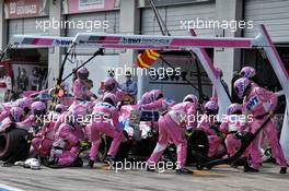 Sergio Perez (MEX) Racing Point F1 Team RP19 makes a pit stop. 12.07.2020. Formula 1 World Championship, Rd 2, Steiermark Grand Prix, Spielberg, Austria, Race Day.