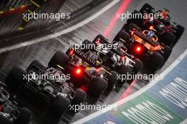 Max Verstappen (NLD) Red Bull Racing RB16; Lando Norris (GBR) McLaren MCL35; Pierre Gasly (FRA) AlphaTauri AT01; Esteban Ocon (FRA) Renault F1 Team RS20; Valtteri Bottas (FIN) Mercedes AMG F1 W11; and Lewis Hamilton (GBR) Mercedes AMG F1 W11 at the end of the pit lane. 11.07.2020. Formula 1 World Championship, Rd 2, Steiermark Grand Prix, Spielberg, Austria, Qualifying Day.