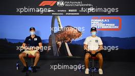 (L to R): Daniil Kvyat (RUS) AlphaTauri and Pierre Gasly (FRA) AlphaTauri in the FIA Press Conference. 09.07.2020. Formula 1 World Championship, Rd 2, Steiermark Grand Prix, Spielberg, Austria, Preparation Day.