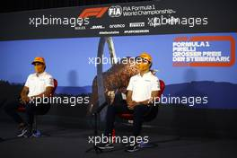 (L to R): Carlos Sainz Jr (ESP) McLaren and Lando Norris (GBR) McLaren in the FIA Press Conference. 09.07.2020. Formula 1 World Championship, Rd 2, Steiermark Grand Prix, Spielberg, Austria, Preparation Day.