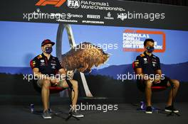 (L to R): Max Verstappen (NLD) Red Bull Racing and Alexander Albon (THA) Red Bull Racing in the FIA Press Conference. 09.07.2020. Formula 1 World Championship, Rd 2, Steiermark Grand Prix, Spielberg, Austria, Preparation Day.