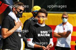 (L to R): George Russell (GBR) Williams Racing and Lando Norris (GBR) McLaren on the grid. 13.09.2020. Formula 1 World Championship, Rd 9, Tuscan Grand Prix, Mugello, Italy, Race Day.