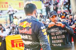 Race winner Lewis Hamilton (GBR) Mercedes AMG F1 in parc ferme with third placed Alexander Albon (THA) Red Bull Racing. 13.09.2020. Formula 1 World Championship, Rd 9, Tuscan Grand Prix, Mugello, Italy, Race Day.
