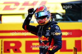 Alexander Albon (THA) Red Bull Racing celebrates his third position in parc ferme. 13.09.2020. Formula 1 World Championship, Rd 9, Tuscan Grand Prix, Mugello, Italy, Race Day.
