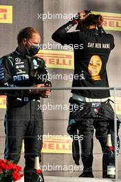 (L to R): Valtteri Bottas (FIN) Mercedes AMG F1 on the podium with team mate and race winner Lewis Hamilton (GBR) Mercedes AMG F1. 13.09.2020. Formula 1 World Championship, Rd 9, Tuscan Grand Prix, Mugello, Italy, Race Day.