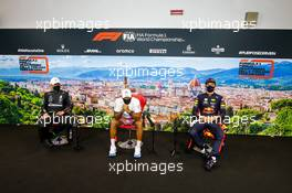 The post race FIA Press Conference (L to R): Valtteri Bottas (FIN) Mercedes AMG F1, second; Lewis Hamilton (GBR) Mercedes AMG F1, race winner; Alexander Albon (THA) Red Bull Racing, third. 13.09.2020. Formula 1 World Championship, Rd 9, Tuscan Grand Prix, Mugello, Italy, Race Day.