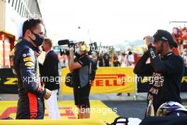 (L to R): Third placed Alexander Albon (THA) Red Bull Racing in parc ferme with race winner Lewis Hamilton (GBR) Mercedes AMG F1. 13.09.2020. Formula 1 World Championship, Rd 9, Tuscan Grand Prix, Mugello, Italy, Race Day.