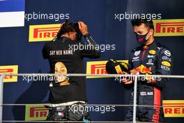 (L to R): Race winner Lewis Hamilton (GBR) Mercedes AMG F1 on the podium with third placed Alexander Albon (THA) Red Bull Racing. 13.09.2020. Formula 1 World Championship, Rd 9, Tuscan Grand Prix, Mugello, Italy, Race Day.