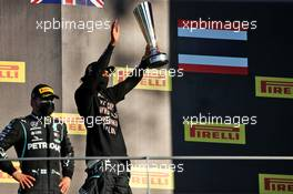Race winner Lewis Hamilton (GBR) Mercedes AMG F1 celebrates on the podium alongside second placed team mate Valtteri Bottas (FIN) Mercedes AMG F1. 13.09.2020. Formula 1 World Championship, Rd 9, Tuscan Grand Prix, Mugello, Italy, Race Day.