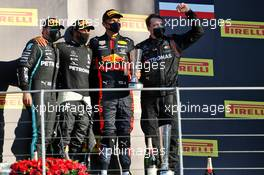 The podium (L to R): Valtteri Bottas (FIN) Mercedes AMG F1, second; Lewis Hamilton (GBR) Mercedes AMG F1, race winner; Alexander Albon (THA) Red Bull Racing, third. 13.09.2020. Formula 1 World Championship, Rd 9, Tuscan Grand Prix, Mugello, Italy, Race Day.