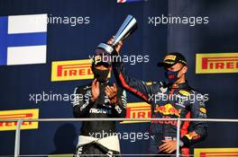 Alexander Albon (THA) Red Bull Racing celebrates his third position on the podium. 13.09.2020. Formula 1 World Championship, Rd 9, Tuscan Grand Prix, Mugello, Italy, Race Day.