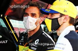 Cyril Abiteboul (FRA) Renault Sport F1 Managing Director with race retiree Esteban Ocon (FRA) Renault F1 Team. 13.09.2020. Formula 1 World Championship, Rd 9, Tuscan Grand Prix, Mugello, Italy, Race Day.