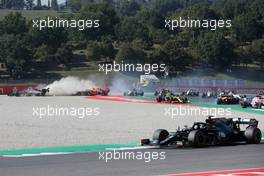 Max Verstappen (NLD) Red Bull Racing RB16 crashes out of the race with Romain Grosjean (FRA) Haas F1 Team VF-20 and Kimi Raikkonen (FIN) Alfa Romeo Racing C39. 13.09.2020. Formula 1 World Championship, Rd 9, Tuscan Grand Prix, Mugello, Italy, Race Day.