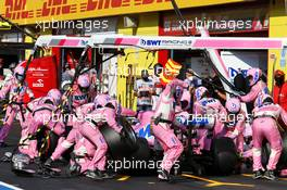 Sergio Perez (MEX) Racing Point F1 Team RP19 makes a pit stop. 13.09.2020. Formula 1 World Championship, Rd 9, Tuscan Grand Prix, Mugello, Italy, Race Day.
