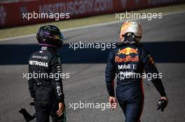 (L to R): Lewis Hamilton (GBR) Mercedes AMG F1 with Max Verstappen (NLD) Red Bull Racing in qualifying parc ferme. 12.09.2020. Formula 1 World Championship, Rd 9, Tuscan Grand Prix, Mugello, Italy, Qualifying Day.