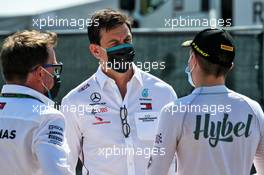 Toto Wolff (GER) Mercedes AMG F1 Shareholder and Executive Director with Frederik Vesti (DEN) PREMA Racing. 12.09.2020. Formula 1 World Championship, Rd 9, Tuscan Grand Prix, Mugello, Italy, Qualifying Day.