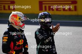 (L to R): Max Verstappen (NLD) Red Bull Racing with Lewis Hamilton (GBR) Mercedes AMG F1 in qualifying parc ferme. 12.09.2020. Formula 1 World Championship, Rd 9, Tuscan Grand Prix, Mugello, Italy, Qualifying Day.