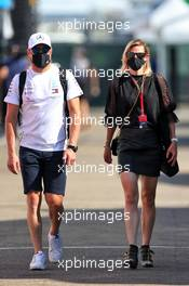 Valtteri Bottas (FIN) Mercedes AMG F1 with his girlfriend Tiffany Cromwell (AUS) Professional Cyclist. 13.09.2020. Formula 1 World Championship, Rd 9, Tuscan Grand Prix, Mugello, Italy, Race Day.