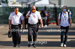 (L to R): Zak Brown (USA) McLaren Executive Director; Tim Bampton (GBR) McLaren Head of Communications; and Adam Norris (GBR).  13.09.2020. Formula 1 World Championship, Rd 9, Tuscan Grand Prix, Mugello, Italy, Race Day.