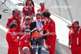 Mick Schumacher (GER) Prema Racing Formula 2 Driver with Louis Camilleri (ITA) Ferrari Chief Executive Officer and Mattia Binotto (ITA) Ferrari Team Principal. 13.09.2020. Formula 1 World Championship, Rd 9, Tuscan Grand Prix, Mugello, Italy, Race Day.