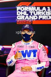 Lance Stroll (CDN) Racing Point F1 Team in the post race FIA Press Conference. 15.11.2020. Formula 1 World Championship, Rd 14, Turkish Grand Prix, Istanbul, Turkey, Race Day.