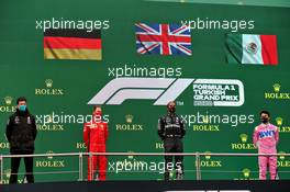 The podium (L to R): Toto Wolff (GER) Mercedes AMG F1 Shareholder and Executive Director; Sebastian Vettel (GER) Ferrari, third; Lewis Hamilton (GBR) Mercedes AMG F1, race winner and World Champion; Sergio Perez (MEX) Racing Point F1 Team, second. 15.11.2020. Formula 1 World Championship, Rd 14, Turkish Grand Prix, Istanbul, Turkey, Race Day.
