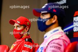 (L to R): Sebastian Vettel (GER) Ferrari and Sergio Perez (MEX) Racing Point F1 Team in the post race FIA Press Conference. 15.11.2020. Formula 1 World Championship, Rd 14, Turkish Grand Prix, Istanbul, Turkey, Race Day.