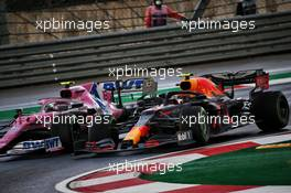 Lance Stroll (CDN) Racing Point F1 Team RP20 and Alexander Albon (THA) Red Bull Racing RB16 battle for position. 15.11.2020. Formula 1 World Championship, Rd 14, Turkish Grand Prix, Istanbul, Turkey, Race Day.